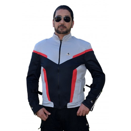 Optimal 2 mesh motorcycle jacket grey red black with Dry fit and Aramid