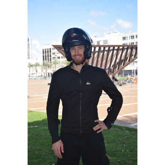 Optimal 2 black mesh jacket with Dry Fit &Aramid reinforced