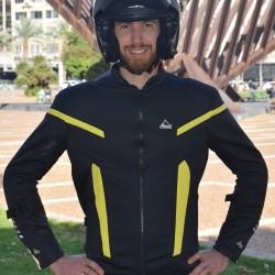 """Optimal 2 ""black yellow mesh motorcycle jacket Dry Fit + Aramid"